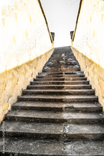 Staircase Going Up Between Two Walls Stock Photo And Royalty Free