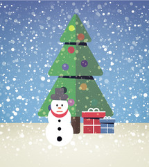 christmas tree with snowman and gifts
