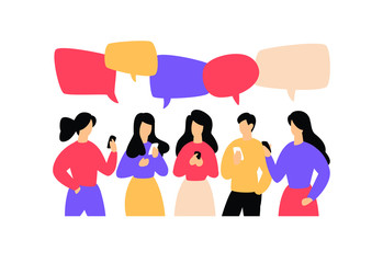 Illustration of communicating people. Vector illustration. Image is isolated on white background. Flat style, businessmen discuss social network, news, social networks, chat, dialogue, comic bubbles.