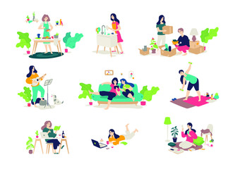 Illustrations of girls and boys engaged in household chores. Vector. Young people relax, play the guitar, cook, sit on the Internet. Relocation, delivery of things. Illustrations for the magazine. Gym