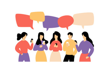 Illustration of communicating people.  Image is isolated on white background. Flat style, businessmen discuss social network, news, social networks, chat, dialogue, comic bubbles.