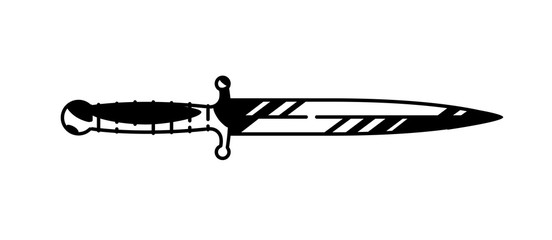 Illustration of the logo of the dagger. Painted military knife. Black and white contour graphic drawing. Tattoo. Decorative element for design.