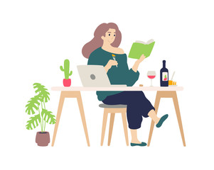Cute girl resting at the computer at home.  A young lady drinks wine and cheese tasting. Reads a book, engaged in self-education. Illustration for the magazine. Internet banner.