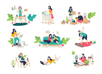 Illustrations of girls and boys engaged in household chores. Young people relax, play the guitar, cook, sit on the Internet. Relocation, delivery of things. Illustrations for the magazine. Gymnastics.