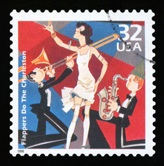 UNITED STATES OF AMERICA - CIRCA 1998: A postage stamp printed in USA showing an image of a flapper dancing charleston, CIRCA 1998.