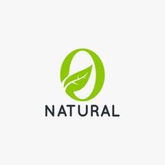 Organic natural and letter O logo design vector