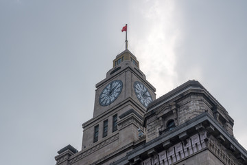 Clock tower of the Custom House on the Bund in Shanghai, China