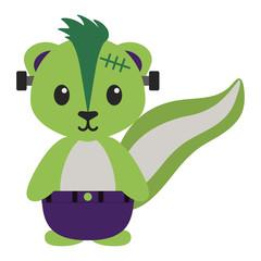 Skunk in Halloween Costume - Cute woodland skunk wearing Halloween costume