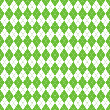 Argyle Seamless Pattern - Classic and clean lime green and white argyle