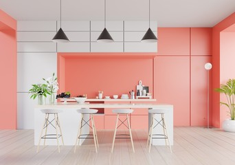 Kitchen interior with living coral color wall on living coral color of the Year 2019,3d rendering