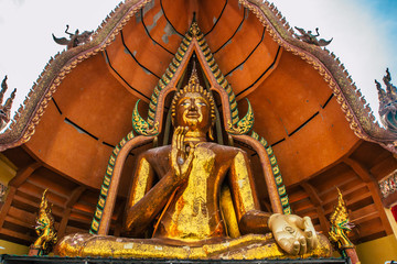 Tiger Cave Temple (Wat Tham Sua) in Kanchanaburi, Thailand is a beautiful day