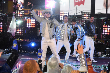 New Kids On The Block perform during New Year's eve celebrations in Times Square