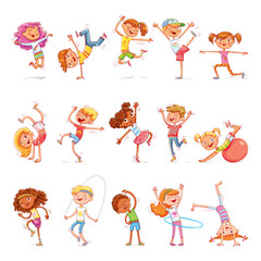 Children are engaged in different kinds of sports. Fitness. Dancing breakdance