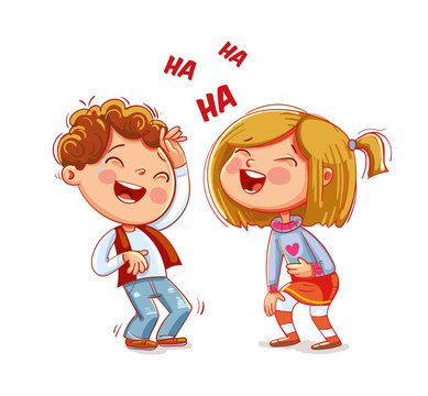 Children laugh fun. Funny cartoon character