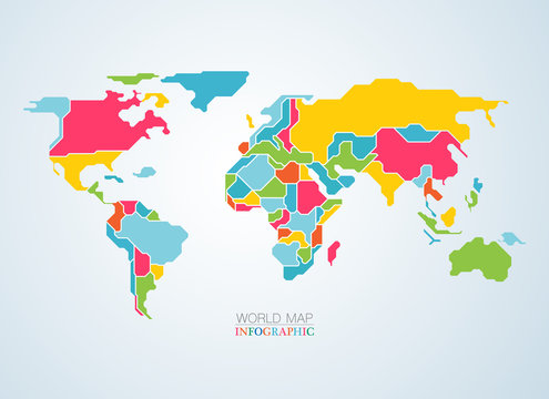 vector of colourful world map continents for infographics