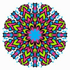 colored background. Beautiful Mandala illustration.