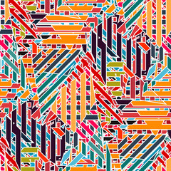 Colorful bright lines seamless geometric pattern