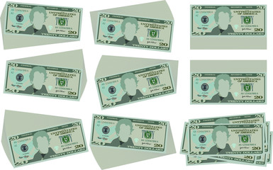 Bunch of 20 US dollar banknote set
