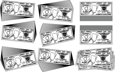 Bunch of 20 US dollar banknote outline set