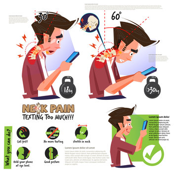 neck pain from using smartphone or texting too much. infographic. right and wrong position for good health - vector