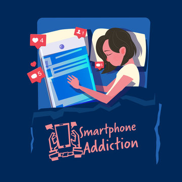 women sleep with her smartphone in the bed. smartphone or social media addiction concept - vector