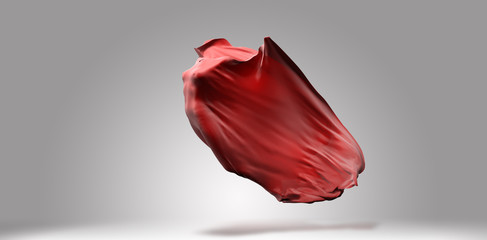 Vibrant red streaming waving cloth, with invisible female body inside, fabric design template, 3d illustration
