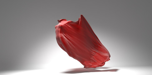 Vibrant red streaming fabric with female body inside, design template