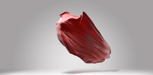 Vibrant red streaming waving cloth, with invisible female body flying inside, fabric design template, 3d illustration
