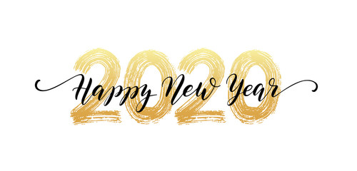 2020 Happy New Year script text hand lettering. Design template Celebration typography poster, banner or greeting card for Merry Christmas and happy new year. Vector Illustration Fotomurales