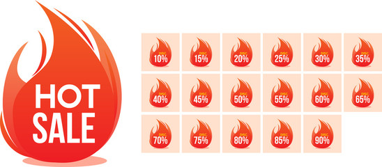 hot sale and complete discount  percentage inside flame vector icon illustration