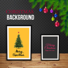 Christmas Greeting Card. Merry Christmas Party design with holiday