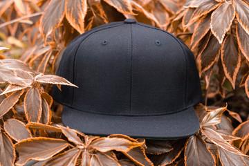 Obraz Black snapback cap flat visor in outdoor - fototapety do salonu