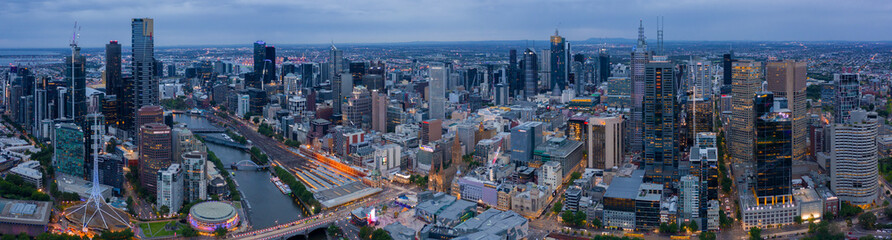 Panorama of Melbourne's city center from a high point. Beautiful panorama of skyscrapers in the city centre