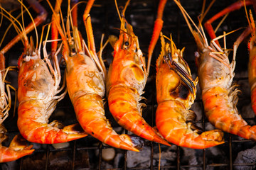 Row of grilled prawns