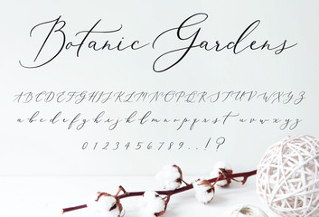 Botanic Gardens Script Font alphabet for Wedding Invitations