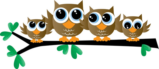 Foto op Plexiglas Uilen cartoon a cute owl family sitting on a branch header or banner