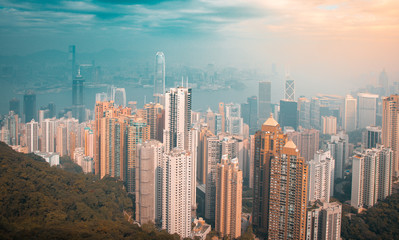 Teal and orange color of Hong Kong as viewed from Victoria Peak