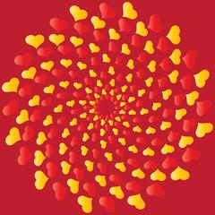 Whirl of hearts greeting card saver drawing