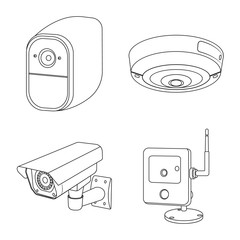 Isolated object of cctv and camera icon. Collection of cctv and system stock vector illustration.
