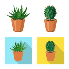 Isolated object of cactus and pot icon. Set of cactus and cacti vector icon for stock.