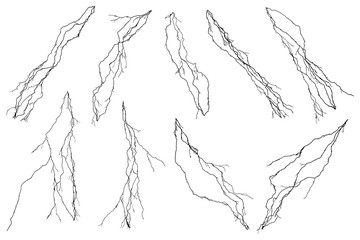 Vector set of lightning collection isolated on white background.