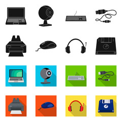Vector design of laptop and device symbol. Collection of laptop and server vector icon for stock.
