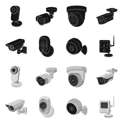 Vector design of cctv and camera icon. Collection of cctv and system stock vector illustration.