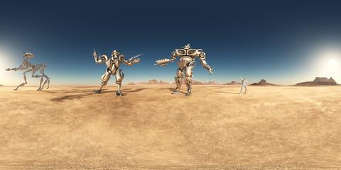 360 Grad Panorama mit Robotern und Astronaut in einer Wüste