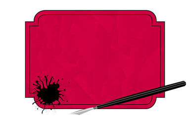 Fountain pen with blot in frame. Vector illustration
