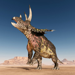 Dinosaur Pentaceratops in the desert