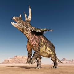Dinosaur Pentaceratops in the desert