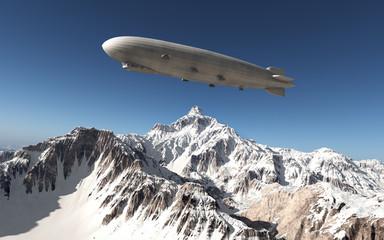 Luftschiff über den Bergen