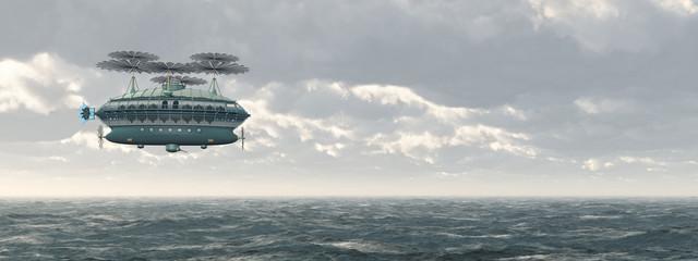 Fantasie Luftschiff über dem Meer