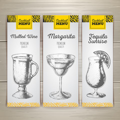 Set of cocktail sketch banners